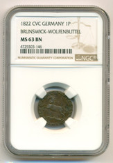 Germany - States Brunswick-Wolfenbuttel - 1822 CVC Pfennig MS63 BN NGC