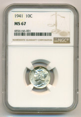 1941 Mercury Dime MS67 NGC