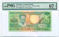 Suriname 1988 25 Gulden Bank Note Super Gem Unc 67 EPQ PMG