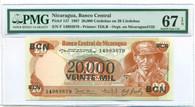 Nicaragua 1987 20000 Cordobas Bank Note Overprint Superb Gem Unc 67 EPQ PMG