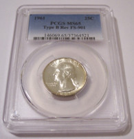 1961 Washington Quarter Type B Reverse Variety FS-901 MS65 PCGS