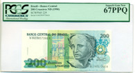 Brazil 1990 200 Cruzeiros Bank Note Superb Gem New 67 PPQ PCGS Currency