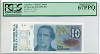 Argentina 1985-89 10 Australes Bank Note Superb Gem New 67 PPQ PCGS Currency