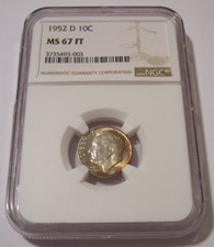1952 D Roosevelt Dime MS67 FT NGC Color