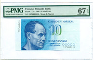 Finland 1986 10 Markkaa Bank Note Superb Gem Unc 67 EPQ PMG