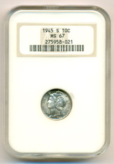 1945 S Mercury Dime MS67 NGC rv Color