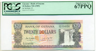 Guyana 1989 20 Dollars Bank Note Superb Gem New 67 PPQ PCGS Currency