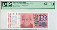 Argentina 1985-90 100 Australes Replacement Bank Note Superb Gem New 67 PPQ PCGS Currency