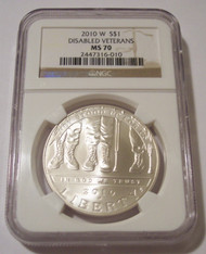 2010 W Disabled Veterans Commemorative Silver Dollar MS70 NGC