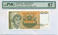 Yugoslavia 1993 100,000 Dinara Bank Note Superb Gem Unc 67 PMG EPQ