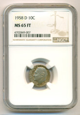 1958 D Roosevelt Dime MS65 FT NGC