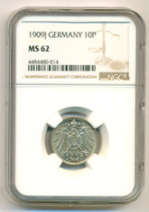 Germany -Empire- 1909 J 10 Pfennig MS62 NGC Scarce