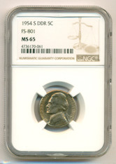 1954 S Jefferson Nickel DDR Variety FS-801 MS65 NGC