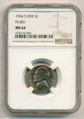 1954 S Jefferson Nickel DDR Variety FS-801 MS64 NGC