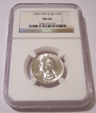 1960 Washington Quarter Type B Reverse Variety FS-901 MS66 NGC