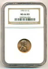 1951 D Lincoln Wheat Cent MS66 RED NGC