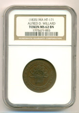 Hard Times Token 1835 Boston MA Alfred D Willard HT-171 MS62 BN NGC