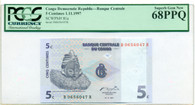 Congo Democratic Republic 1997 5 Centimes Bank Note Superb Gem New 68 PPQ PCGS Currency