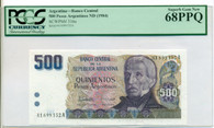 Argentina 1984 500 Pesos Argentinos Bank Note Superb Gem New 68 PPQ PCGS Currency