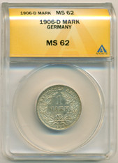 Germany -Empire- Silver 1906 D Mark MS62 ANACS