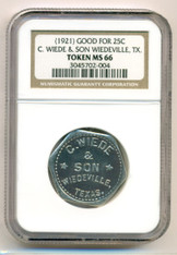 1921 C Wiede & Son Good For 25C Trade Token MS66 NGC