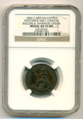 Great Britain 1866 London Riggers & Mariners Union Copper Medal AU55 BN NGC