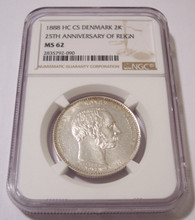 Denmark Christian IX 1888 HC CS Silver 2 Kronor 25th Anniversary of Reign MS62 NGC