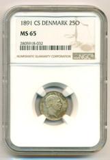 Denmark Silver 1891 CS 25 Ore MS65 NGC