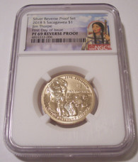 2018 S Native American Dollar Jim Thorpe Reverse Proof PF69 NGC Sacagawea Label