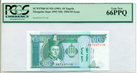 Mongolia 1994-95 (series 1993) 10 Tugrik Bank Note Gem New 66 PPQ PCGS Currency