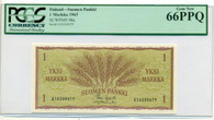 Finland 1963 1 Markka Bank Note Gem New 66 PPQ PCGS Currency