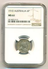Australia Silver 1910 6 Pence MS61 NGC