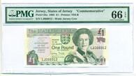 "Jersey 1995 1 Pound Bank Note ""Commemorative"" 66 Gem Unc EPQ PMG"
