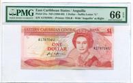 East Caribbean States - Anguilla 1988-89 1 Dollar Bank Note Gem Unc 66 EPQ PMG