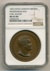 Germany States - Saxe-Weimar-Eisenach - Carl August 1825 Bronze Medal MS65 BN NGC
