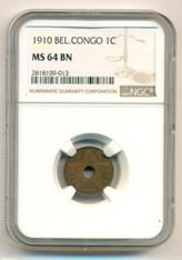 Belgian Congo 1910 Centime MS64 BN NGC