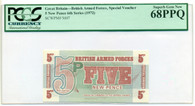 Great Britain 1972 Armed Forces Payment Voucher 5 New Pence Superb Gem New 68 PPQ PCGS Currency