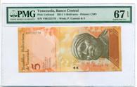 Venezuela 2014 5 Bolivares Bank Note Superb Gem Unc 67 EPQ PMG
