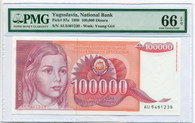 Yugoslavia 1989 100,000 Dinara Bank Note Gem Unc 66 EPQ PMG