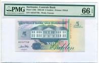 Suriname 1995-98 5 Gulden Bank Note Gem Unc 66 EPQ PMG