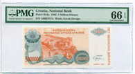 Croatia 1993 5 Million Dinara Bank Note Gem Unc 66 EPQ PMG