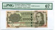 Paraguay 2011 10,000 Guaranies Bank Note Superb Gem Unc 67 EPQ PMG