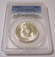 1953 D Franklin Half Dollar Obv Die Clash FS-402 MS64 FBL PCGS