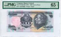 Uruguay 1991 1000 Nuevos Pesos Bank Note Gem Unc 65 EPQ PMG