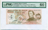 Uruguay 1975 5 Nuevos Pesos on 5000 Pesos Note Ch Unc 64 EPQ PMG