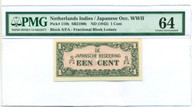 Japanese Occupation WWII Netherlands Indies 1942 1 Cent Note Ch Unc 64 PMG