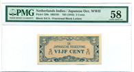 Japanese Occupation WWII Netherlands Indies 1942 5 Cents Note Ch AU 58 PMG