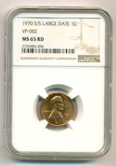 1970 S/S Lincoln Memorial Cent Large Date VP-002 MS65 RED NGC