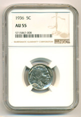 1936 Buffalo Nickel AU55 NGC