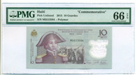 "Haiti 2013 10 Gourdes ""Commemorative"" Bank Note Gem Unc 66 EPQ PMG"